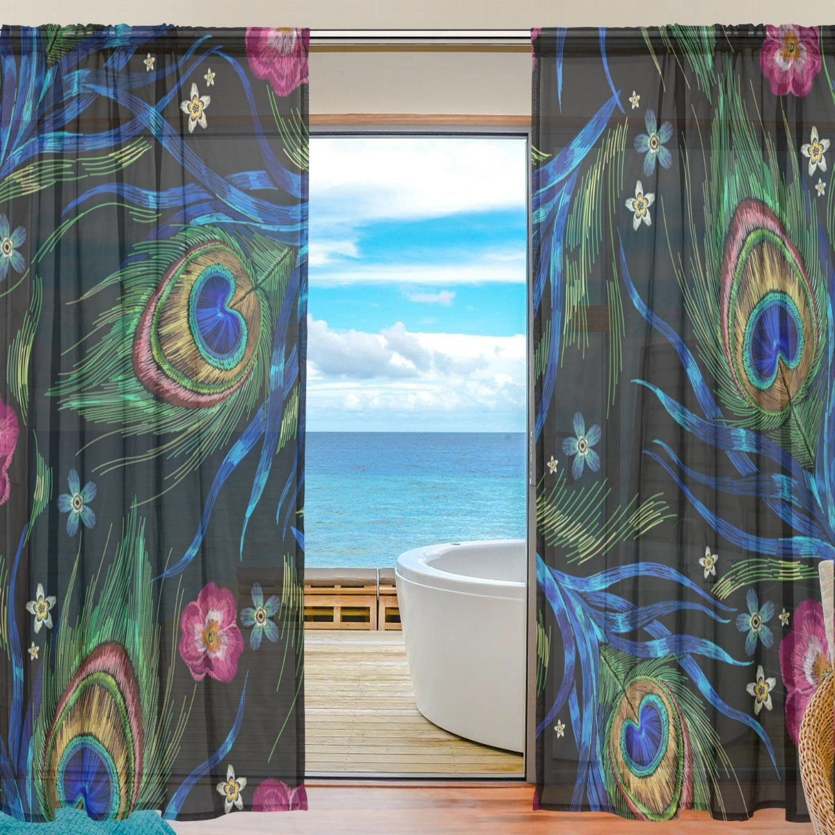 SEULIFE Window Sheer Curtain, Animal Peacock Feathers Rose Flower Voile Curtain Drapes for Door Kitchen Living Room Bedroom 55x78 inches 2 Panels