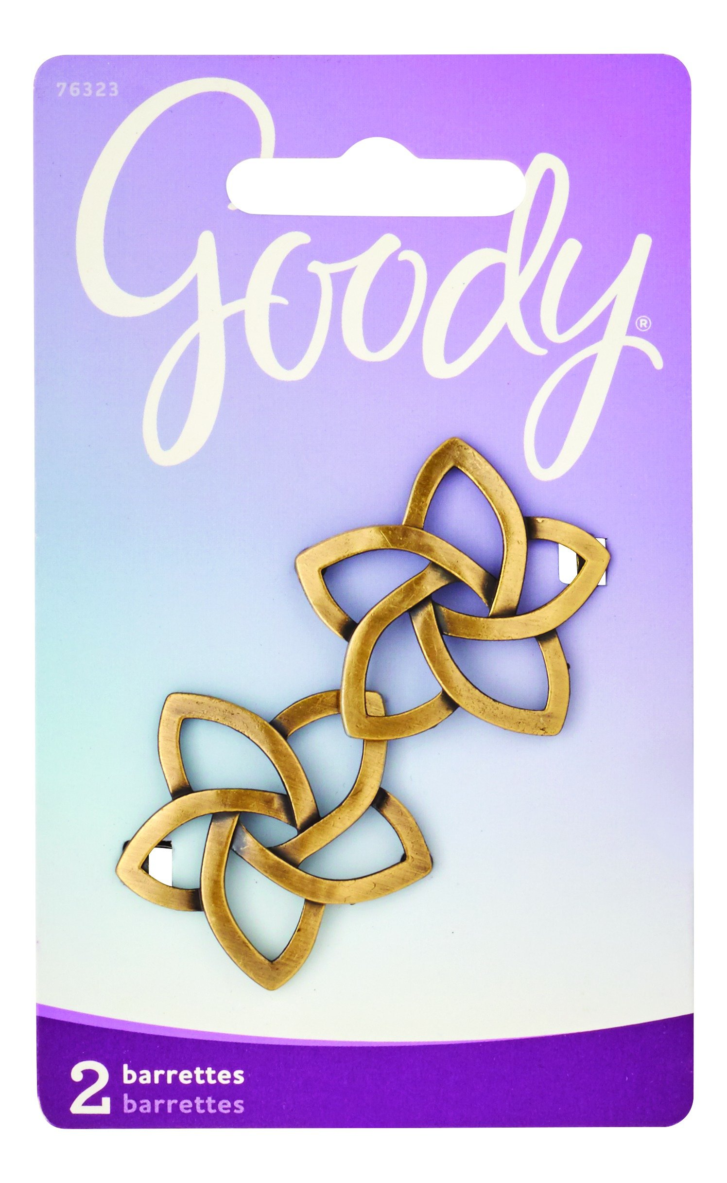 Goody Hair Barrettes, Star Shaped Jean Wire, Gold, 2 Count, (1942442)