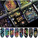 8 roll Geometric Water Marble Holographic Series Nail Foil Flower Dream Catcher Holo Christmas Transfer Sticker Nail Art