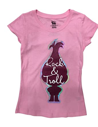 0d546f17c Amazon.com: Dreamworks Trolls Girls' T-Shirt - Princess Poppy - ROCK ...