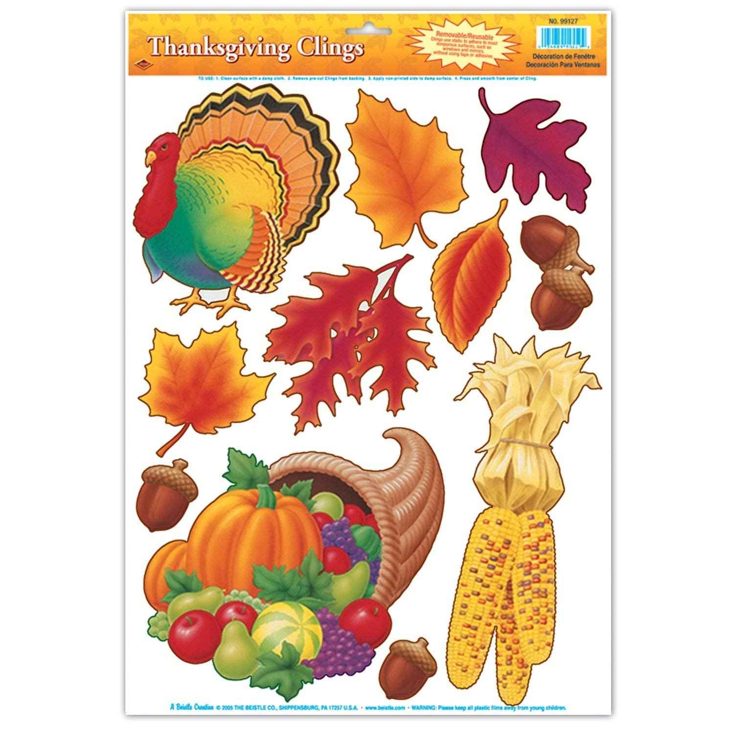 Indian Corn Seasonal Static Decals Featuring Fall Leaves and Acorns Curated Nirvana Autumn /& Thanksgiving Holiday Window Clings Cornucopia and More Harvest Time Pumpkins 33 Total Turkey