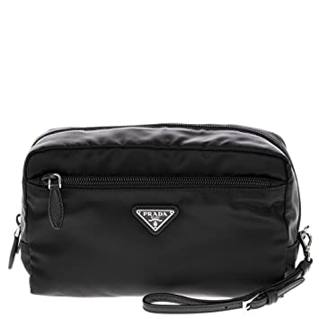 Amazon.com  Prada Black Fabric Cosmetic Pouch with Front Zip Pocket and Wrist  Strap  TheLuxuryClub a51540c8c12b0