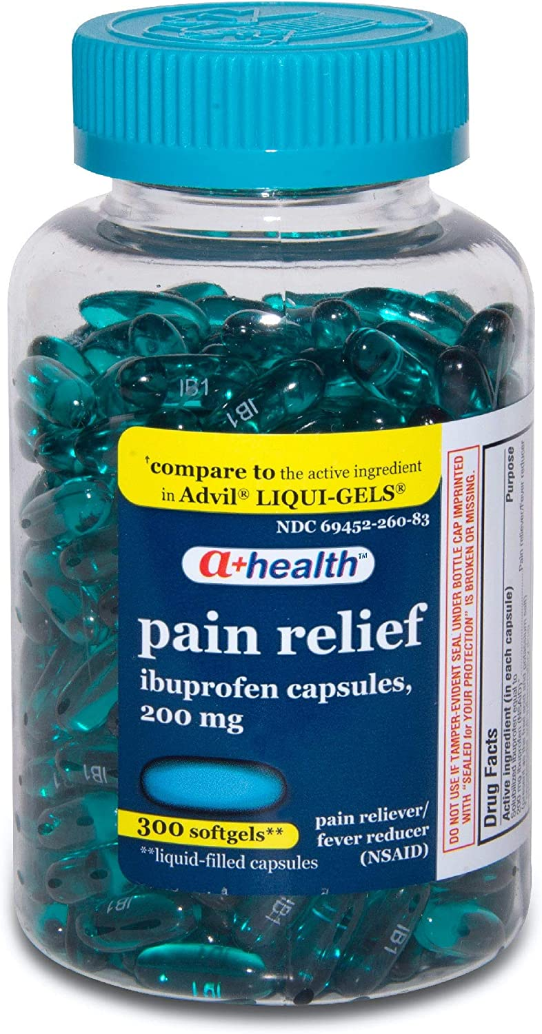 Amazon Com A Health Ibuprofen 200 Mg Softgels Pain Reliever Fever Reducer Nsaid Made In Usa 300 Count Health Personal Care