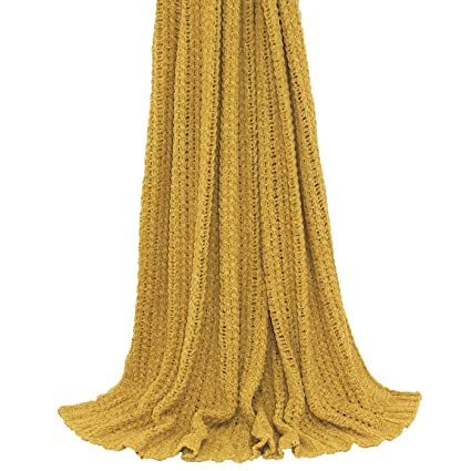 Amazon Com Plain Knitted Ribbed Ochre Yellow Gold Throw Blanket