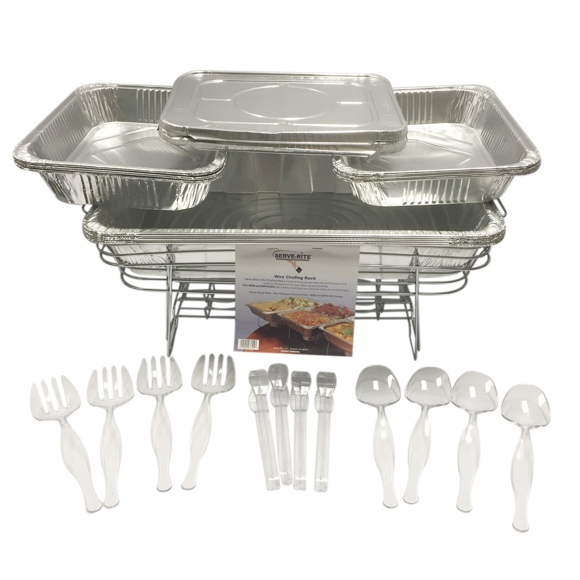 30 Piece Chafing Buffet Set, Includes 6 Half Pans, Covers and Serving Utensils by Serve-Rite
