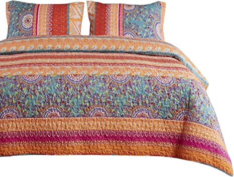 embroidered colorful Indian bedspread with 2 cushion covers Boho bedding set Desert flower multicolor patchwork quilt bohemian decor