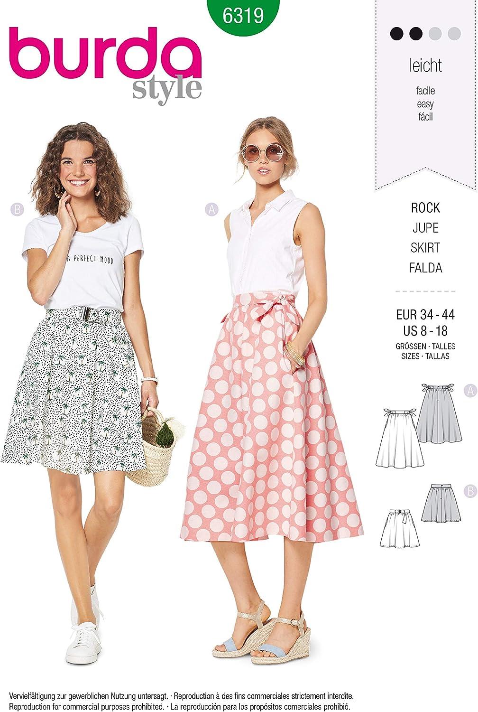 Burda Style 6319 - Patrón de costura para falda con forma de ...