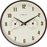 DecoMates Non-Ticking Silent Wall Clock with Built-In Thermometer Fahrenheit/Hygrometer, Retro Multiplex, Brown