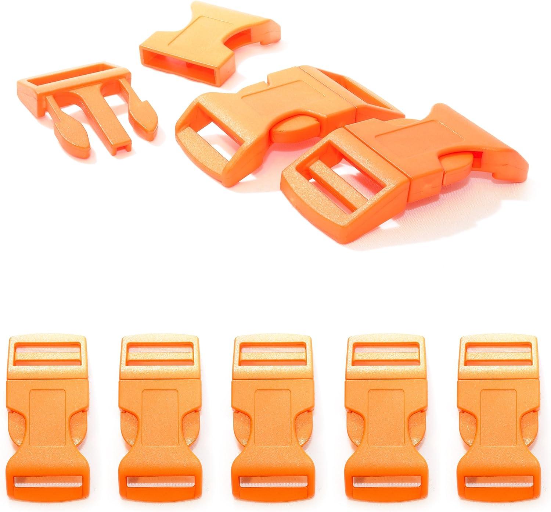 """couleur: orange de la marque Ganzoo attache /à clipser bracelet, collier pour chien, etc grandeur: XL 65mm x 32mm 1/"""" boucle lot de 5 fermoirs id/éal pour les paracordes Fermoir /à clip en plastique"""
