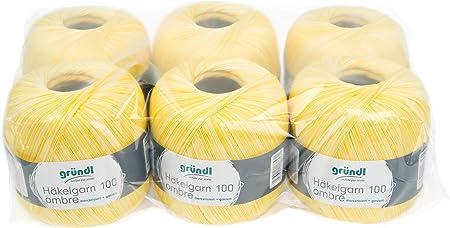 Gründl 3528 – 01 häkgel Hilo 100 Ombre Ventaja, Pack 6 (Ovillo de 100 g Ganchillo Hilo, algodón, limón, 30 x 21 x 11 cm: Amazon.es: Hogar