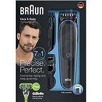 Braun Tondeuse tout-en-un 7-en-1 MGK3042, Tondeuse Barbe et Cheveux, Tondeuse de Précision, Noir/Bleu