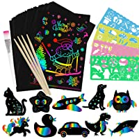 Cokoka Scratch Paper Art Set for Kids - 85 Piece Rainbow Magic Scratch Paper Arts Crafts Supplies Kits for Fun DIY Toy Easter Party Game Christmas Birthday Gift