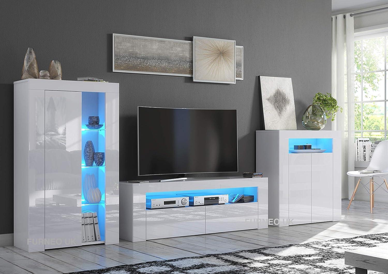 Furneo High Gloss & Matt White Living Room Set TV Stand Sideboard Display Cabinet Coronato Living Room Sets