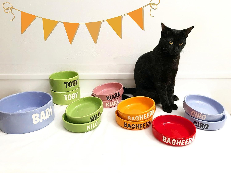 Comedero para perros y gatos pequeño personalizado con nombre (cerámica): Amazon.es: Handmade