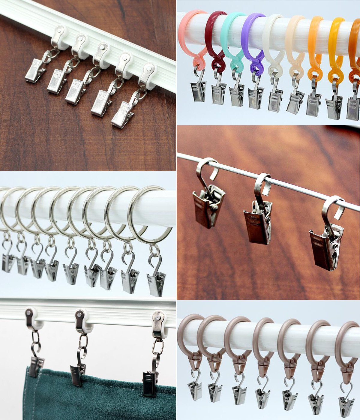 BP-CurtainClips-Silver-25P Art Craft Display and Outdoor Activities Supplies Silver, 1 Inch Coideal 25 Pack Small Curtain Clips Hooks Wide Flat String Party Lights Hanger Wire Holder for Shower Home Decoration Photos