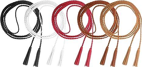 TALLA L. Nanxson Cinturón de mujer Cintura de niña Cadena de cuero Borla Cinturón Cuerda Joyas de punto para camisa de abrigo PDW0042