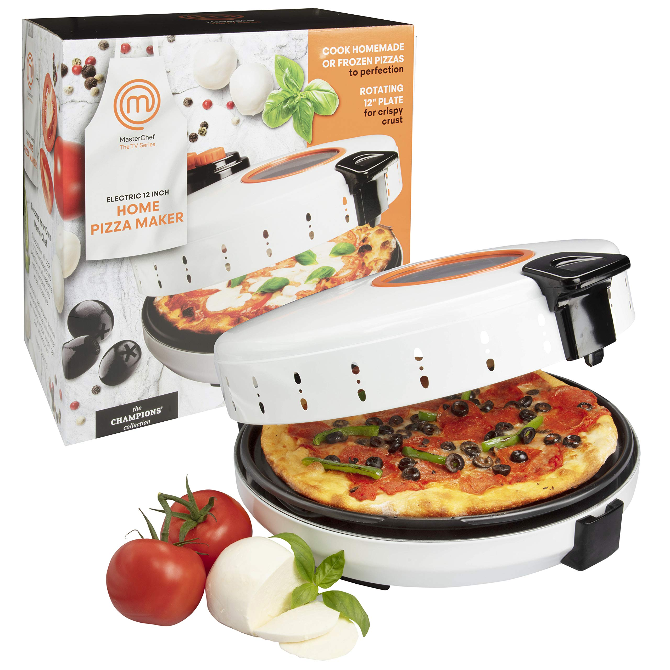 MasterChef Pizza Maker- Electric Rotating 12 Inch Non-stick Calzone Cooker - Countertop Pizza Pie Oven w Adjustable Temperature Control, Fun Gift