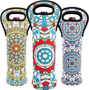 Wine Carrier Tote Bag Durable Bohemian Flowers Neoprene Wine Carrier Bag Champagne Bottles Protective Travel Bag Geometric Stylish Bottle Holder for Safe Transportation (Bohemian-Set(3))