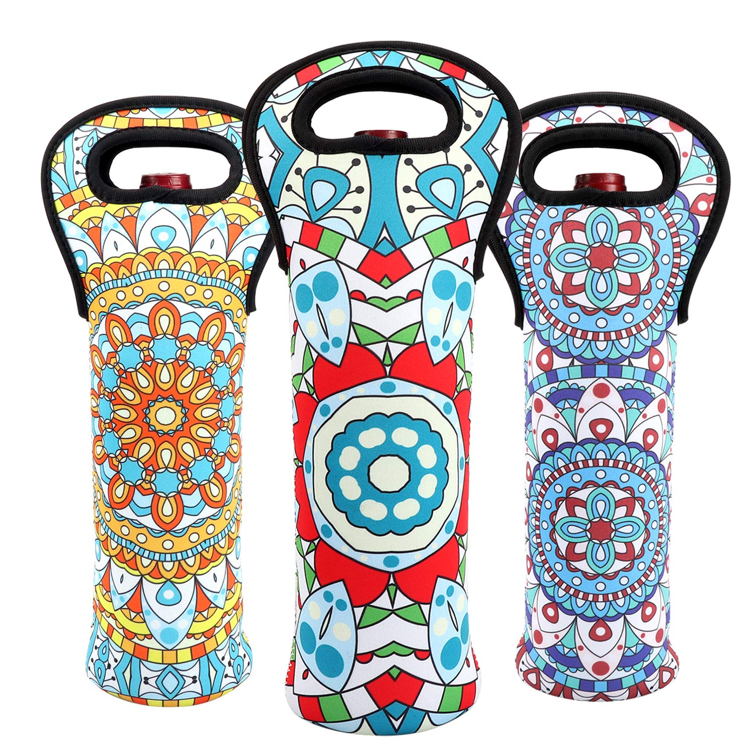 Wine Carrier Tote Bag Durable Bohemian Flowers Neoprene Wine Carrier Bag Champagne Bottles Protective Travel Bag Geometric Stylish Bottle Holder for Safe Transportation (Bohemian-Set(3))