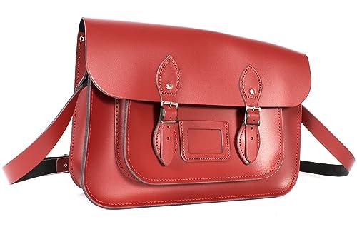 Oxbridge Satchels - Bolso estilo cartera de Piel para mujer rojo