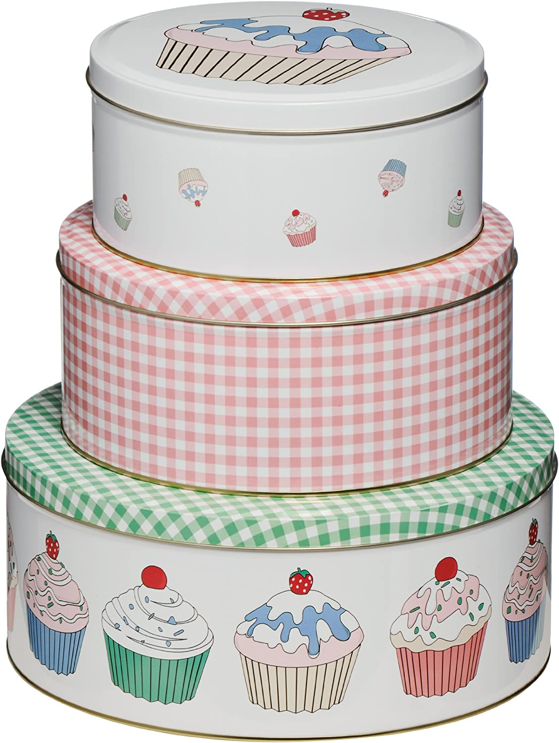 Set of 3 Cupcake Storage Tins