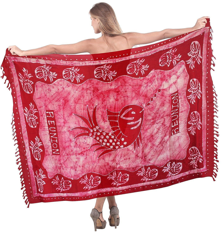 La Leela sanfte Rayon Hand Batik Seefisch rot alle in einem Strand loung Abnutzung/Badeanzug vertuschen/sundress/Bikini Schlitz Rock/Damen wickeln Pareo/plus Größe Badeanzug Sarong Kleid 198x99 cm