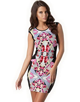 Lipsy Blackmulti Abstract Geo And Floral Printed Bodycon Dress With