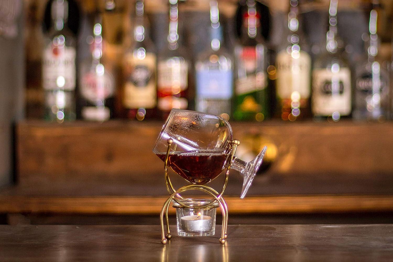 Vinology Brandy Warmer Set Deluxe Gold