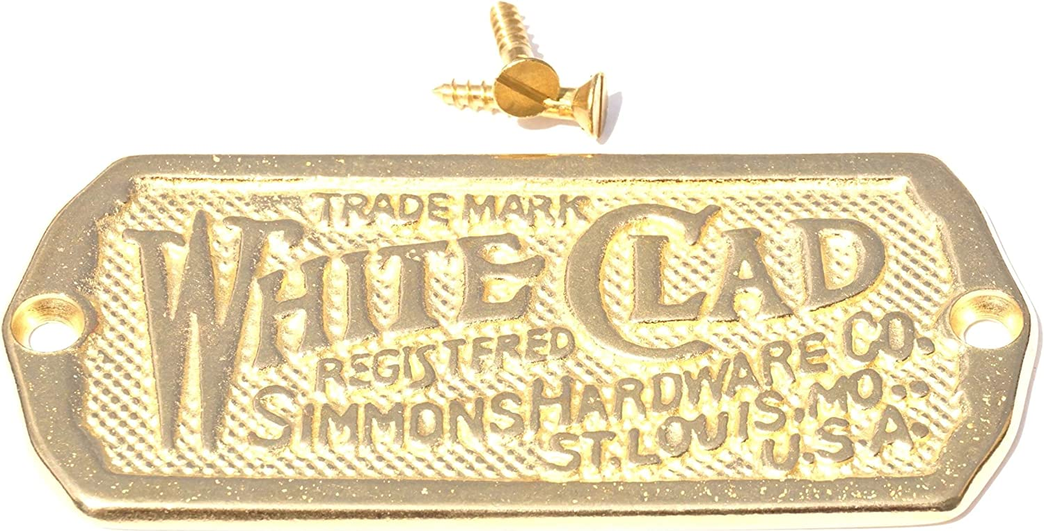 2 Solid Cast Brass White Clad Ice Box Label