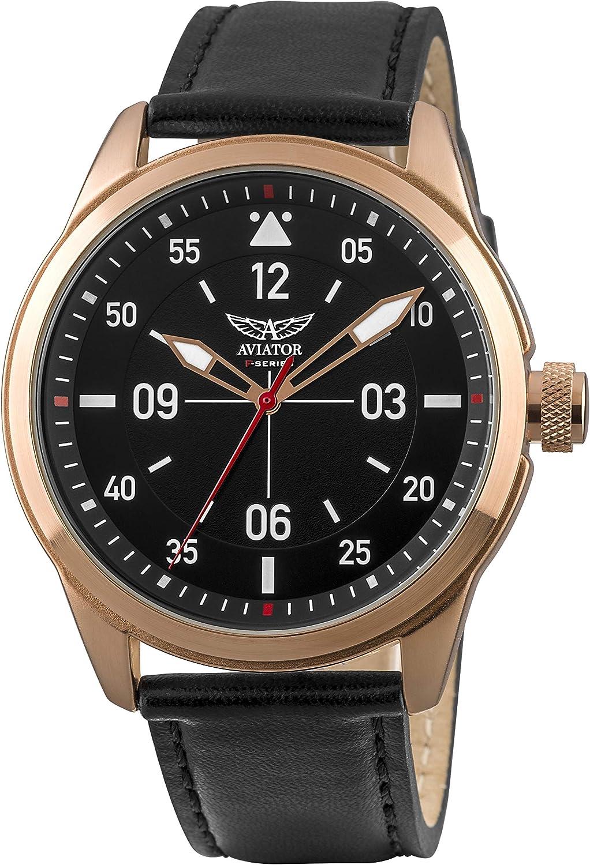 AVIATOR F-Series - Reloj analógico de Cuarzo para Hombre, Correa de Piel de Color Oro Rosa y Negro