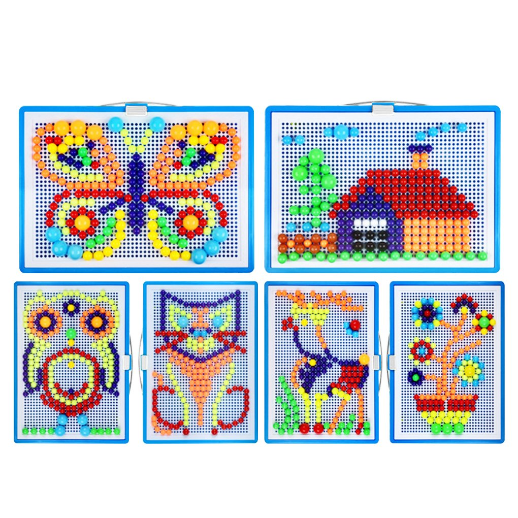 Greenery-GRE 296 Fuse Bead Set for Kids Child Over 3 Years, Creative DIY Mosaic Pegboard Mushroom Nails Kit Fun Arts And Crafts Science Jigsaw Puzzle Toy Intelligent 3D Games Educational Toy by Greenery-GRE (Image #8)