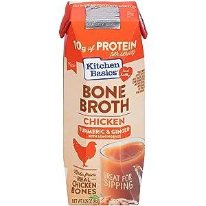 Kitchen Basics Turmeric & Ginger With Lemongrass Chicken Bone Broth, 8.25 fl oz