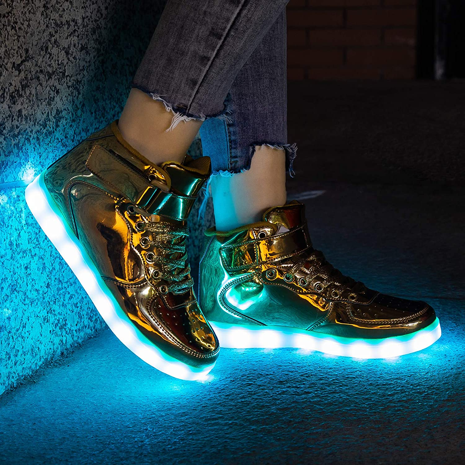 A2kmsmss5a Dance Sneakers Boys /& Girls LED Light Up Star Pattern Lace Up Luminous USA Flag Shoes Sneakers Halloween