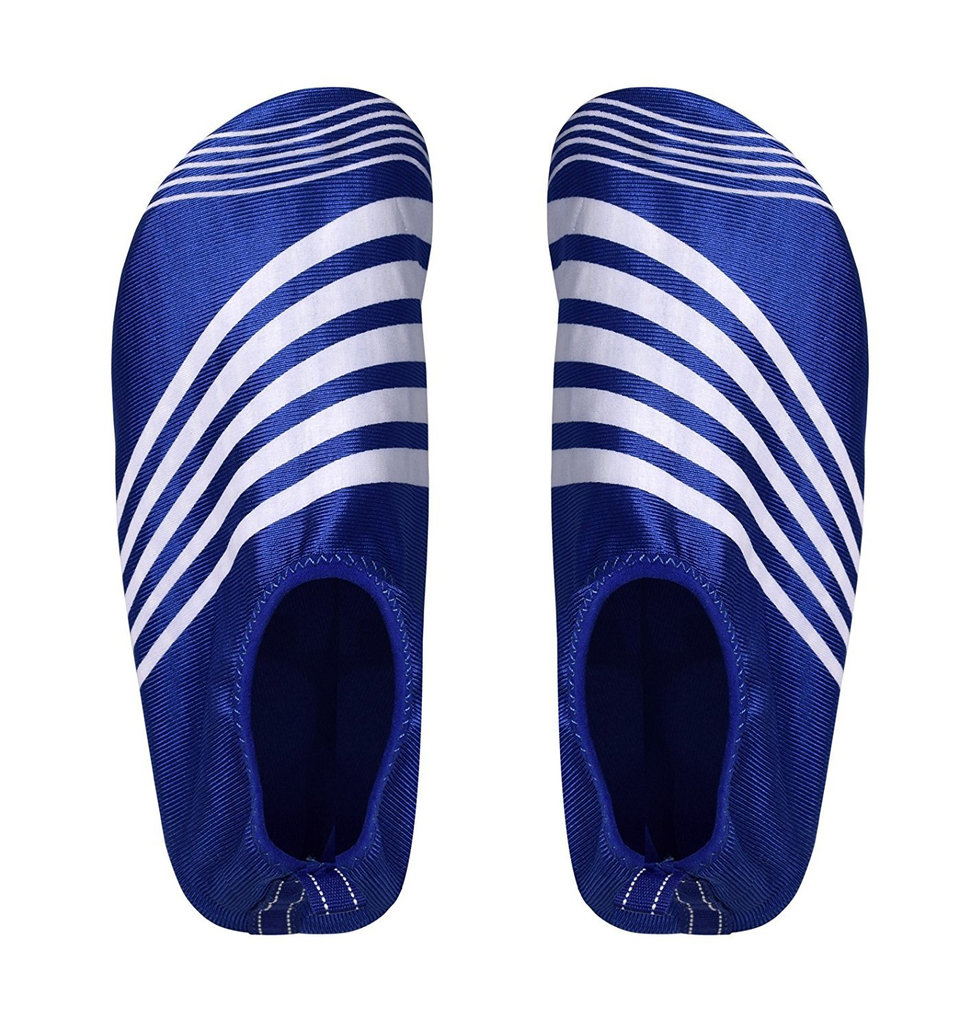 Peach Couture Mens Athletic Water Shoes Slip on Quick Drying Aqua Socks (Large, Blue White)