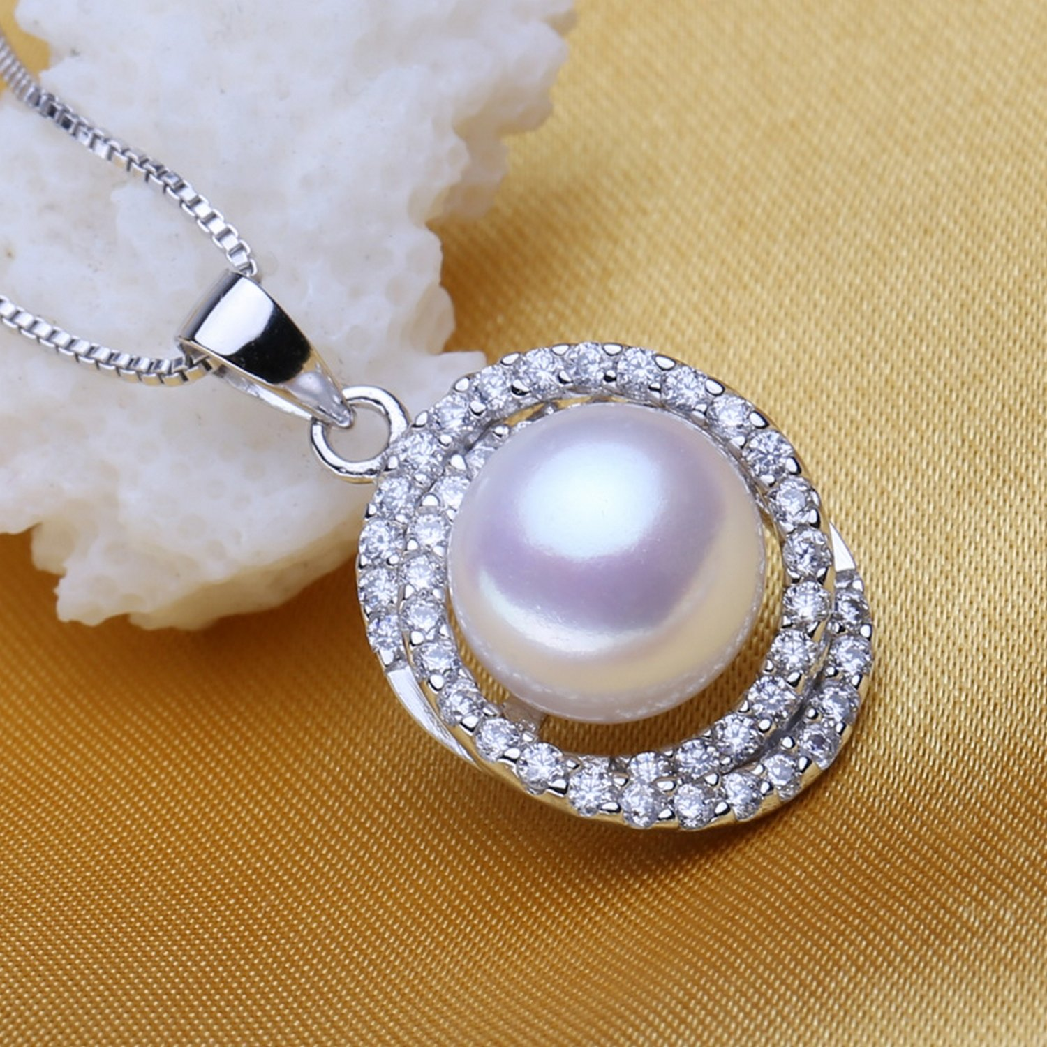 CS-DB Jewelry Silver Pearl Choker Chain Charm Pendants Necklaces