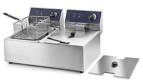 Lacor 69466 69466-Freidora eléctrica Doble Profesional 2500 W (x2), 12 L, Acero Inoxidable