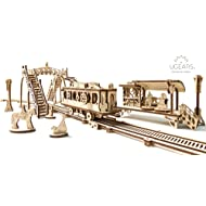 UGears Plywood Tram Line- Mechanical Town Series Collectible Mechanical Model