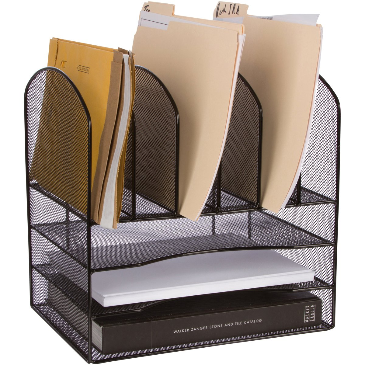 "STYLISH Desk File Organizer - ""Zero"" Assembly - 33% more space - Perfect for desktop paper, inbox tray, sorter - Black Wire Mesh"