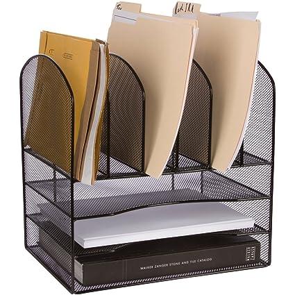 Amazon Com Stylish Desk File Organizer Zeroembly 33 Moree Perfect For Desktop Paper Inbox Tray Sorter Black Wire Mesh Office