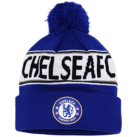 6bb61f3bab1 Official Soccer Football Merchandise Adult Chelsea FC Text Winter Beanie Hat  (One Size)