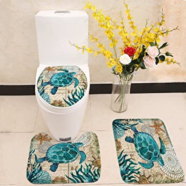 Bathroom Mat Set Toilet Seat Cover Sea Blue Marine Turtle Whale Seahorse Octopus Printed Polyester No Smell Washable Anti-Slip (Turtle)