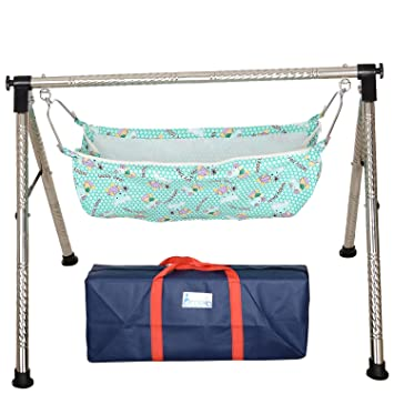 indian style fully folding stainless steel ghodiyu  baby cradle  with cotton hammock buy indian style fully folding stainless steel ghodiyu  baby      rh   amazon in