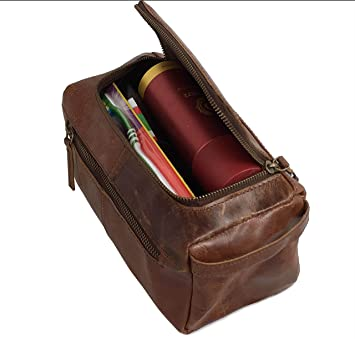 Amazon.com   TLA Genuine Leather Toiletry Bag For Men (Travel Dopp Kit) The  perfect gift and travel accessory.   Beauty 9cd12cc1e7cea