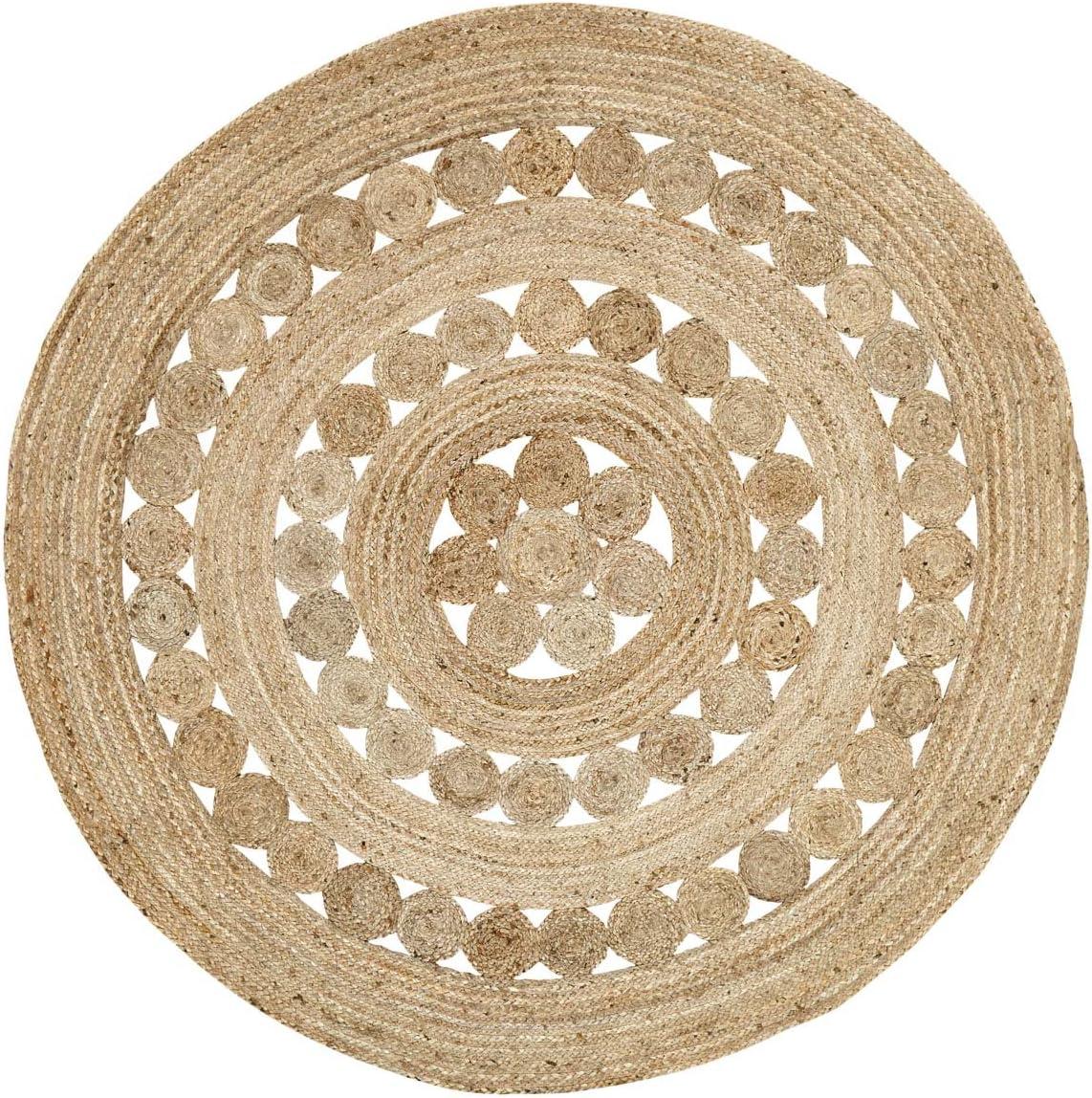 Amazon Com Coastal Farmhouse Flooring Celeste Tan Round Jute Rug 6 Diameter Furniture Decor