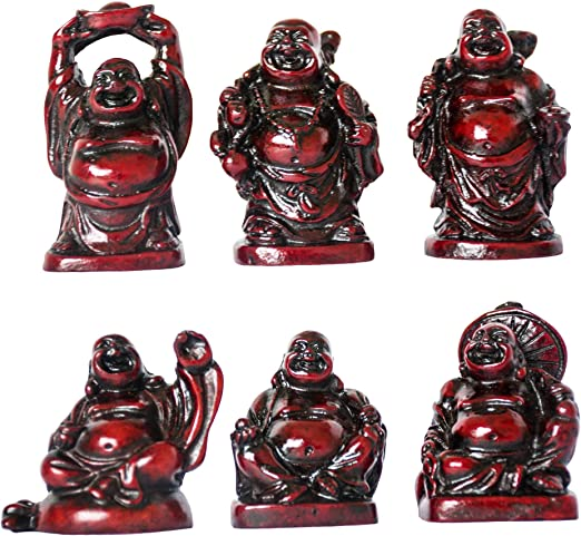 Set of 6 BRONZE//RED COLOR Feng Shui Laughing HAPPY Buddha Figures /& Statue Luck