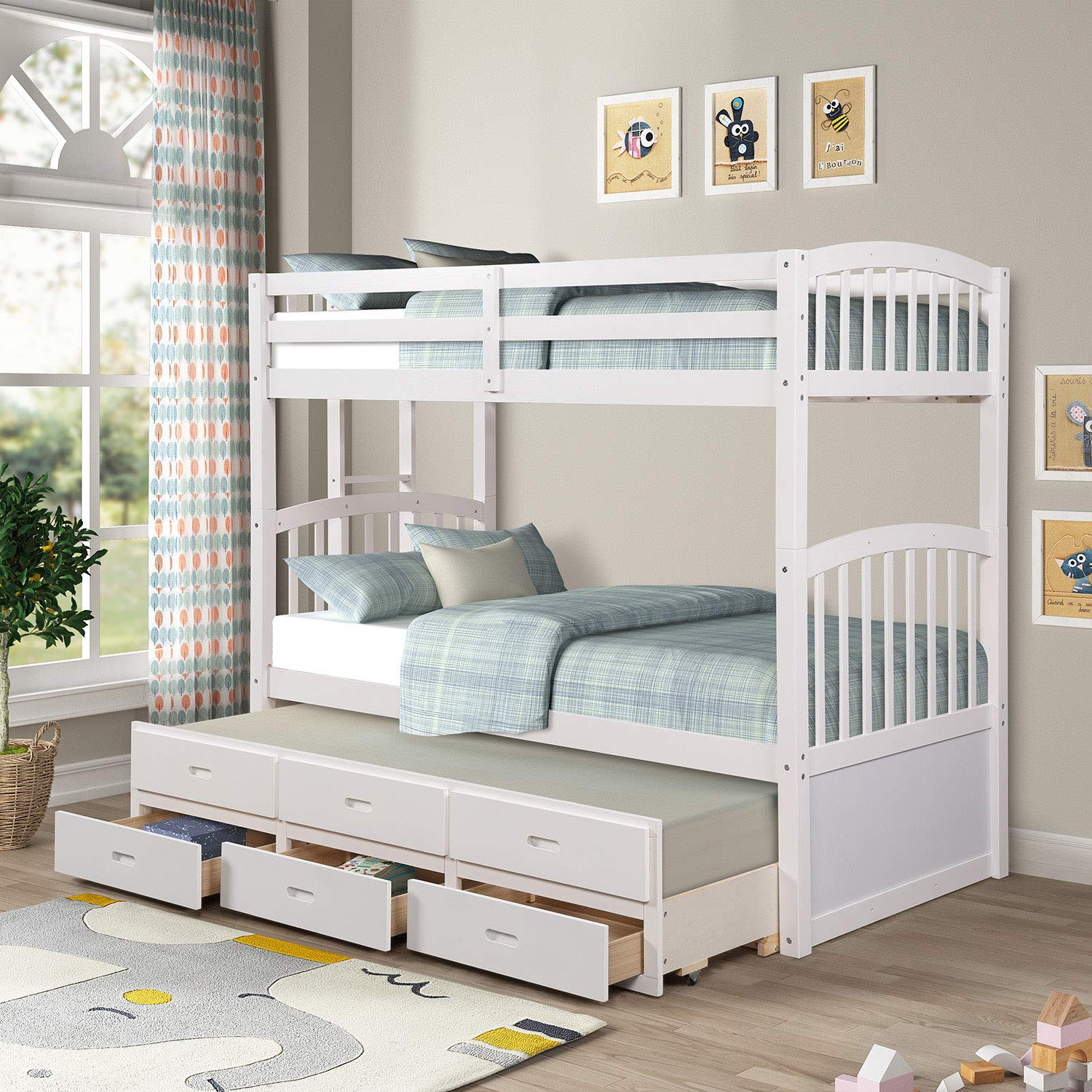Solid Wood Bunk Beds for Kids, Hardwood Twin Over Twin Bunk Bed Frame with Trundle and Storage Drawers,White
