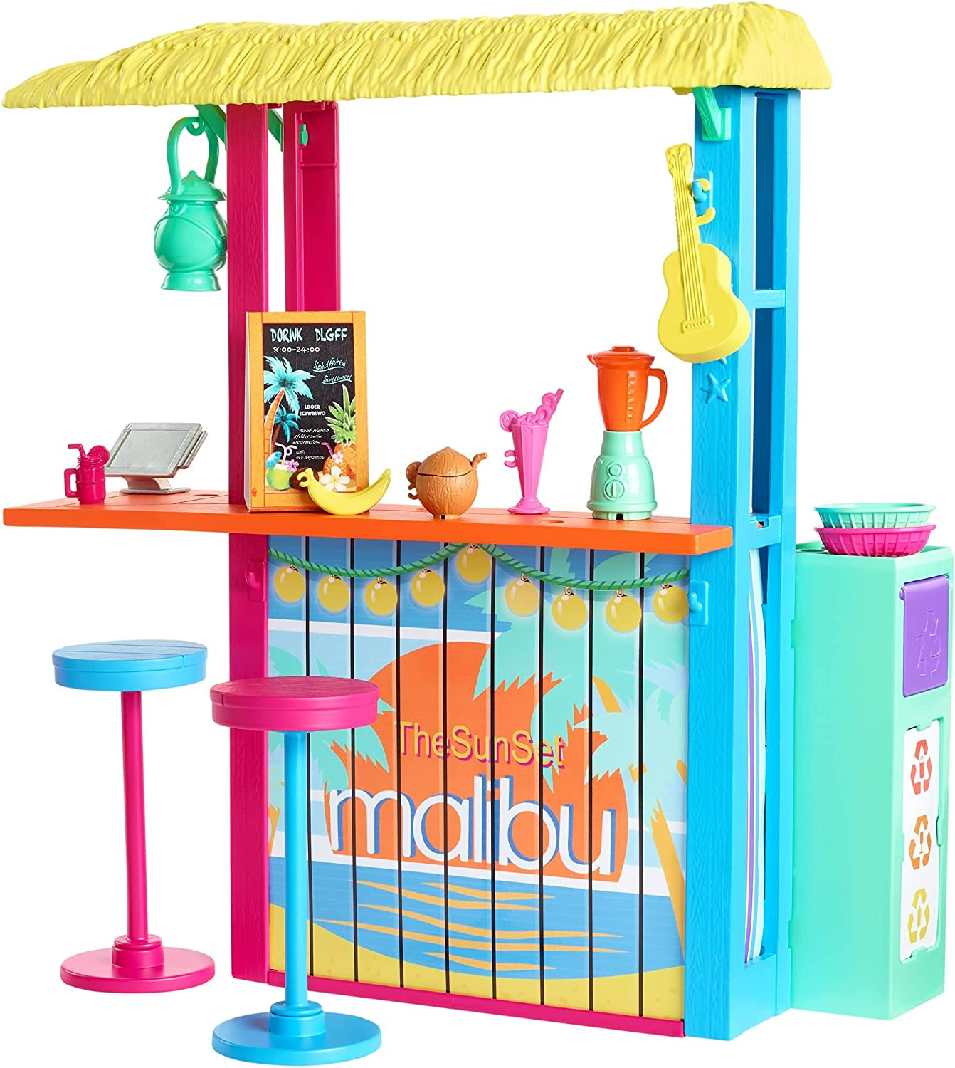 Barbie Loves The Ocean Beach Shack Playset with 18+ Accessories, Made from Recycled Plastics, Gift for 3 to 7 Year Olds