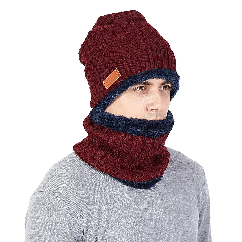 Men Beanie Hat Scarf Set Warm Knit Skull Cap for Winter by MissShorthair F186S-1m