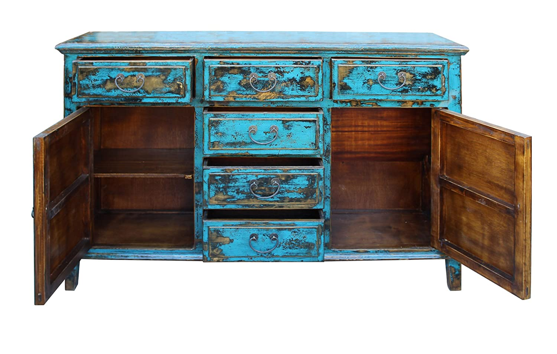 Amazon.com - Oriental Distressed Rustic Blue Credenza Sideboard ...