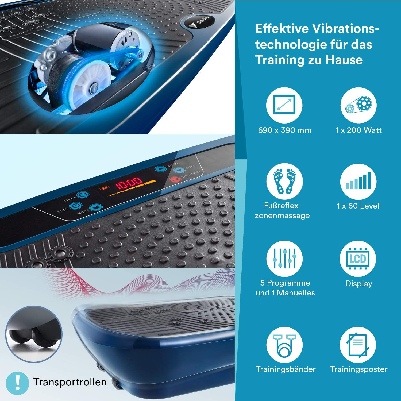 Poster Trainingsb/ändern Leise Motor inkl Armband-Fernbedienung skandika Vibrationsplatten V1 // V1 Twin Engine mit innovativer Oszillationstechnologie // 3D Wipp Vibrations Technologie